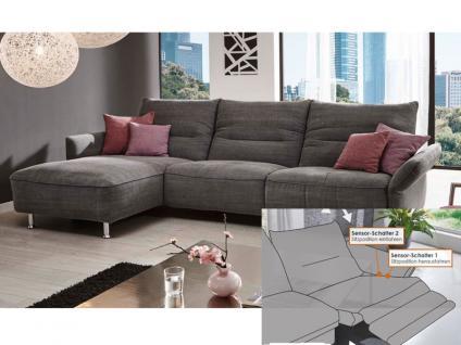 K+W Möbel Passo / 7211 Ecksofa Sofagarnitur Sofa Element mit Seitenteil Zwischenelement und Longchair Polstergarnitur Couch für Wohnzimmer Sofa in Bezug Stoff oder Leder wählbar ohne motorische Verstellung