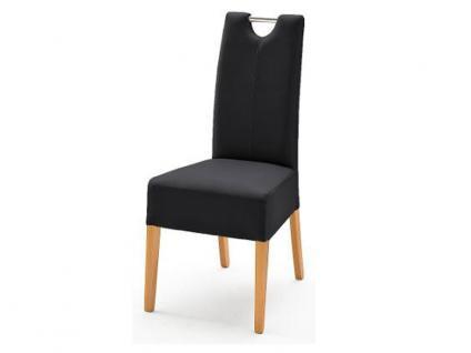 MCA Direkt Stuhl Enya Bezug Argentina in der Farbe anthrazit 2er Set Polsterstuhl für Wohnzimmer und Esszimmer Ausführung 4 Fuß Massivholzgestell und Chromgriff