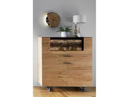 Hartmann Runa Highboard 6111 aus Massivholz Kerneiche natur gebürstet mit Applikation Rinde Kommode für Wohnzimmer oder Esszimmer Beleuchtung wählbar