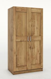 ELFO Kleiderschrank TONI 2 Wildeiche teilmassiv, 2türiger Schrank, Zubehör optional, Schlafzimmerschrank mit 3 Einlegeböden, 1 Hutboden, 1 Kleiderstange, durchgehende Lamelle an der Front, viel Stauraum für Ihr Schlafzimmer