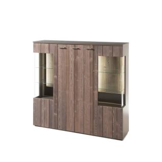 Quadrato Catania Highboard 48 für Wohnzimmer oder Esszimmer Anrichte mit drei Türen Korpus lackiert Farbe wählbar Front Fichte Starkfurnier gebürstet Altholzoptik Beleuchtung wählbar