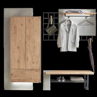 Hartmann Brik Garderobe Vorschlagskombination 100 Ausführung Kerneiche Natur Massivholz gebürstet für Ihren Eingangsbereich Beleuchtung wählbar