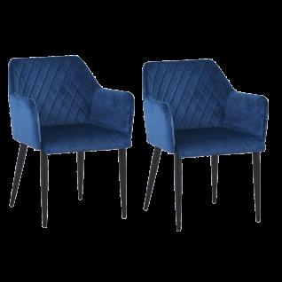 Sit Möbel SIT&CHAIRS Armlehnstuhl im 2er-Set Bezug dunkelblau Gestell Stahl schwarz