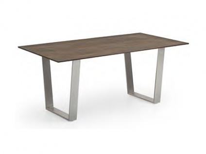 Niehoff Tischsystem PRIMUS Esstisch mit Trapezkufengestell in Edelstahl gebürstet Tisch für Esszimmer Tischplattenausführung in Keramik oder HPL Schichtstoffplatte sowie Tischgröße wählbar