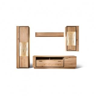 MCA furniture Wohnwand 2 Campinas Art.Nr. CAP17W02 Front Asteiche Bianco Massivholz mit durchgehenden Lamellen Korpus Asteiche Bianco funiert geölt