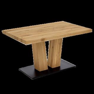 Niehoff Esstisch 4393-44 Massivholztisch in Balkeneiche Massivholz natur gewachst Bodenplatte in Schwarz Tischplattengröße wählbar für Esszimmer