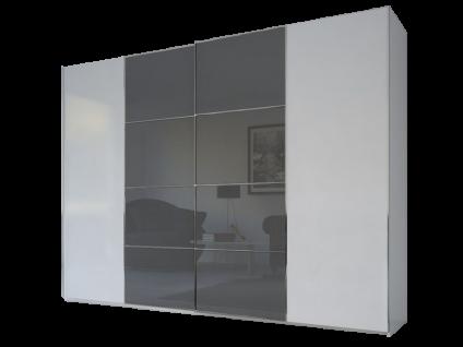 Rauch Steffen Linea Concept 20up Schwebetürenschrank Front 1B Korpus Dekor Weiß matt Frontdekor geteilt außen in Korpusfarbe mittig mit Grauspiegel Schrankbreite ca. 300 cm