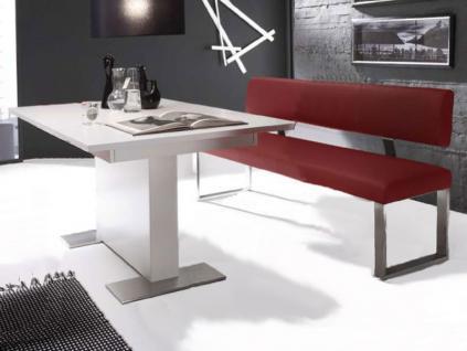 MWA Aktuell Milano Sitzbank mit Rückenlehne in Echtleder oder Kunstleder und Fortuna Säulentisch mit Funktion für Esszimmer