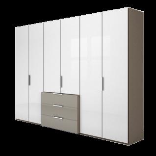 Nolte Möbel Concept me 220 Drehtüren-Komplettschrank Schubkastenblock Front Glas Nussbaum oder Hochglanz