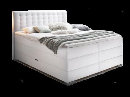 Meise Möbel Boxspringbett Lenno mit Bettkasten Box Kopfteil und Matratze mit Kunstlederbezug uni Box mit Bonnell-Federkern und 7-Zonen- Tonnentaschenfederkern- Matratze XXL optional mit Topper
