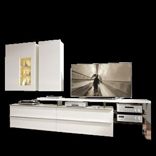 Loddenkemper Media 3000 Wohnwand 9750 bestehend aus Unterteil TV-Bank und zwei Hängeschränken Wohnkombination mit Korpus in Lack Bianco Weiß matt und Front Bianco Weiß Hochglanz für Ihr Wohnzimmer