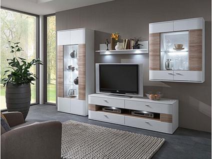 IDEAL-Möbel Dallas Wohnwand Kombination 08 oder Kombination 108 für Wohnzimmer Anbauwand Ausführung Frontabsetzung und Beleuchtung wählbar