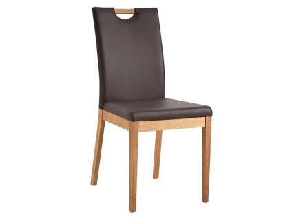 Schösswender Oviedo Stuhl Palma mit gepolstertem Sitz und gepolsterter Lehne mit Holzgriff Stuhl ohne Armlehnen Polsterstuhl mit Holzgestell in Wildeiche geölt und mit wählbarem Bezug
