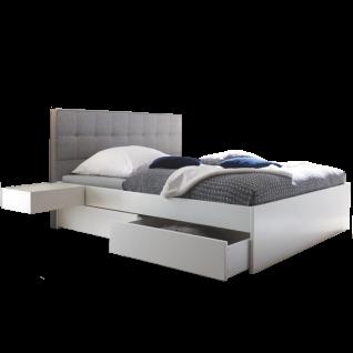Hasena Function & Comfort Bett Elito Standard inkl. 2 Bettschubkästen in Buche Massivholz weiß deckend und Polsterkopfteil grau Liegefläche ca. 180x200 cm optional mit Blende Azio und 2 Caja-Hängenachttischen