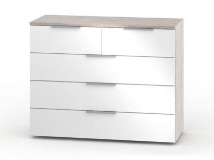 Nolte Möbel concept me 700 Kommode mit 5 Schubkästen Breite 100 cm Korpus in Platin-Eiche-Nachbildung und Front in Polarweiß