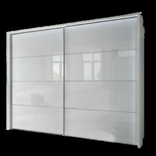 Wiemann Texel Schwebetürenschrank 2-türig Korpus Dekor Weiß Front in Glas Weiß Größe wählbar optional mit Dämpferset und Passepartout