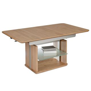 Vierhaus Couchtisch 2378 Tischplatte Echtholz furniert lackiert Ilse-Tornado-Auszug Gestell Massivholz und Metall mit Glasablageboden satiniert serienmäßig mit Rollen Funktionstisch für Ihr Wohnzimmer