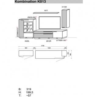 Schröder Kitzalm Alpenflair Wohnzimmer Vorschlagskombination K013 bestehend aus 1 Standelement 1 TV-Unterteil 1 Hängeelement sowie einem Steckboden in Alteiche Natur gebürstet furniert mit Akzenten in Balkeneiche vintage grau - Vorschau 3