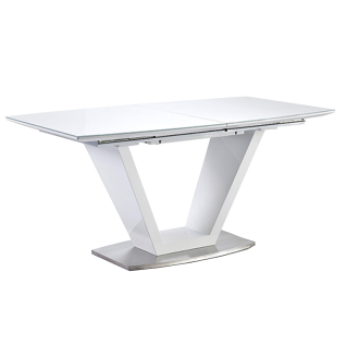 MCA furniture Esstisch Ilko Säulentisch weiß Tischplatte mit Synchronauszug ca. 160 - 220 cm Bodenplatte Edelstahl gebürstet