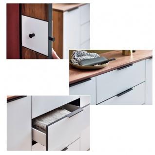 Wittenbreder Novara Garderobenkombination Nr. 05 komplette Garderobe für Ihren Flur und Eingangsbereich 3-teilige Vorschlagskombination im Nussbaum und Glas Weiß mattiert Griffe und Metallteile in Schwarz - Vorschau 3