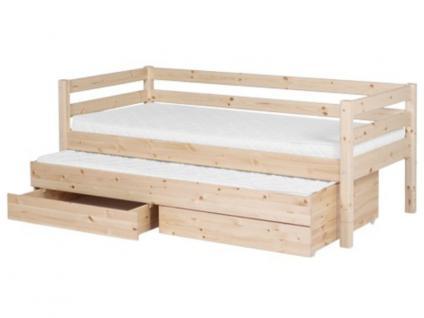 Kinderbett Classic Flexa Einzelbett 90x200 cm mit Ausziehbett hinterer Absturzsicherung 2 Schubladen Laufrollen Griffe Kiefer massiv Flexa4Dreams