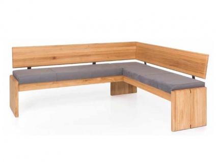 Standard Furniture Truhenbanksystem Stockholm Eckbank mit Truhe Massivholz Gestell und Rückenlehne Bank für Esszimmer in 3 Holzausführungen Größe und Bezug wählbar