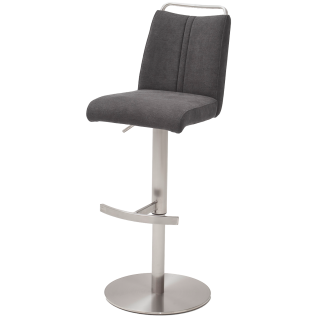 MCA furniture Barhocker Giulia mit Höhenverstellung und 360° Drehfunktion Gestell in Edelstahl gebürstet rund Bezug wählbar
