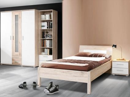 FORTE Beach Jugendzimmer 4-teilig mit Bett Liegefläche ca. 90x200cm Nachttisch Kleiderschrank und Regal Kombination Korpus Sandeiche Nachbildung Frontabsetzung Weiß Dekor - Vorschau 2