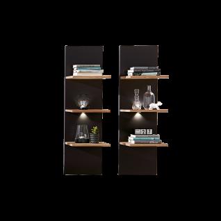 Wohn-Concept Achat Wandboard 2er-Set 45 06 HH 42 mit je drei Holzböden und LED-Beleuchtung Hängeregal in Wildeiche teilmassiv mit Absetzung in Lack Laminat Graphit für Ihr Wohnzimmer oder Esszimmer