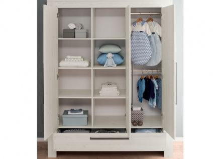 Paidi Laslo Jugendzimmer 3 teilig Liege 90x200 cm Kleiderschrank 3T1S mit 3 Türen und 1 Schubkasten und einer Nachtkommode in Nordic-Wood-Nachbildung - Vorschau 2