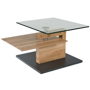Vierhaus Couchtisch 7889-WEI Wildeiche Massivholz Bodenplatte MDF mit Schliffoptik perlsilberfarbig mit Rollen - Vorschau 2