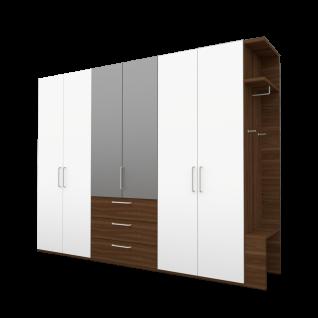 Nolte Möbel concept me 100 Drehtürenschrank 6-türig mit 3 Schubkästen und Anbau Garderobe Mitteltüren Kristallspiegelauflage Korpus Frontausführung