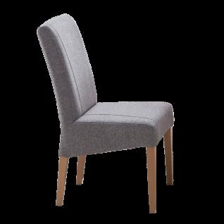 Standard Furniture Factory Stuhl Leon mit Kontrastnähten Bezug Loco shark skin Webstoffoptik Gestell aus Massivholz Eiche natur