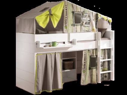 Paidi Fiona Spielbett 120 Liegefläche ca. 90x200 cm mit gerader Griffleiter in Kreideweiß optional mit Vorhang-Set Vintage und Loft Zelt Vintage
