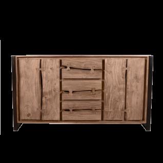 Sit Möbel LIVE EDGE Sideboard aus Akazienholz massiv Gestell mit Metall schwarz