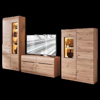 Stralsunder Breege Wohnkombination EB34505 bestehend aus Vitrine Lowboard und Highboardvitrine Dekor Alteiche Nachbildung