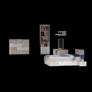 Forte Jugendzimmer-Kombination 5-teilig in Sandeiche Dekor kombiniert mit Weiß Set mit Bettanlage Liegefläche ca. 140x200cm TV-Unterschrank Wandpaneel Kommode und Regal