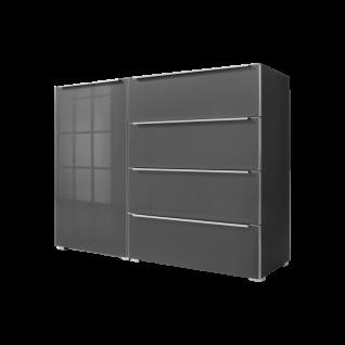 Nolte Alegro Style Kombikommode mit 1 Tür links 4 Schubkästen rechts und Glas-Oberplatte Korpus Graphit Front und Oberplatte Graphitglas Griffleisten und Tür- und Schubkasteneinfassung alu-matt