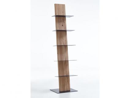 Hartmann Naturstücke Standregal 1044 mit fünf Metallböden anthrazit Regal für Wohnzimmer oder Esszimmer in drei Holzarten wählbar