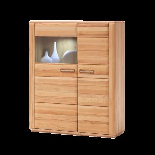 MCA Furniture Sena Kombi-Highboard L Front Kernbuche Massivholz geölt mit durchgehenden Lamellen, Korpus außen Kernbuche furniert, Korpus innen Kernbuche Nachbildung Art.Nr. KB200T22 Highboard für Wohnzimmer oder Esszimmer