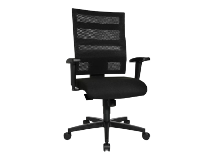 TopStar Linea 30 Drehstuhl mit Sitzhöhenverstellung und höhenverstellbaren Armlehnen Bürostuhl mit wählbarem Sitzbezug und schwarzer Netzrückenlehne
