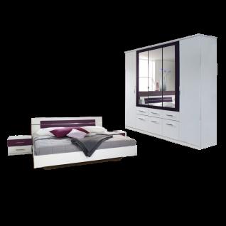 Rauch Packs Burano Schlafzimmer 2-teilig bestehend aus Bettanlage mit 2 Nachttischen mit je 2 Schubkästen und Drehtürenschrank mit Spiegeltüren Liegefläche ca 180 x 200 cm Farbausführung alpinweiß Absetzung brombeer optional mit Kommode