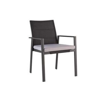 Niehoff Garden Nancer Gartenstuhl G332-100-051 mit Vierfußgestell in Aluminium Anthrazit Rückenlehne in Batyline schwarz polstert inkl. Sitzkissen Cartenza grau stapelbarer Stuhl für Ihren Garten