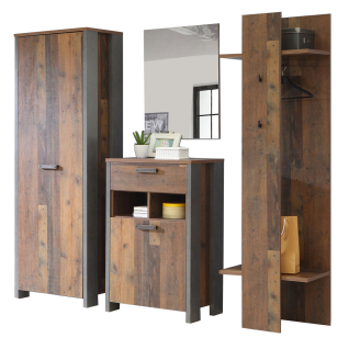 Forte Clif Garderobe Garderobenschrank Schuhschrank Kleiderpaneel Spiegel Old Wood Vintage Nachbildung