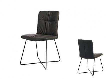 Wöstmann C200 Casa Avanti Stuhl 614 Polsterstuhl mit hochwertiger legerer Polsterung für Esszimmer Drahtrohrgestell schwarz sttrukturgepulvert Bezug wählbar