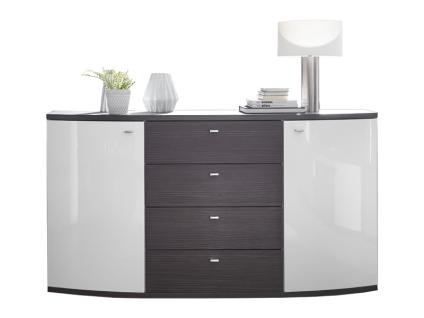 Wohn-Concept Bregenz Sideboard 4064WO20 für Ihr Wohnzimmer oder Esszimmer mit 2 Türen und 4 Schubkästen Ausführung Weiß Hochglanz / Anthrazit Struktur