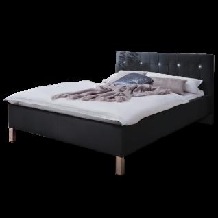 Meise Möbel Polsterbett Cristallo mit Kunstlederbezug in schwarz und Swarovski®-Kristallen am Kopfteil Metallfüsse in Chromoptik Liegefläche wählbar