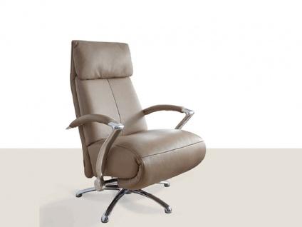 Willi Schillig Bürosessel Kronos 32510 Sessel Type MM54 mit serienmäßiger stufenloser Kopfteilverstellung und manueller Sitz- & Rückenverstellung per Gasdruckfeder edles Anilin-Nappa-Leder Z87_21 Farbton Fango chromglänzender Sternenfuß