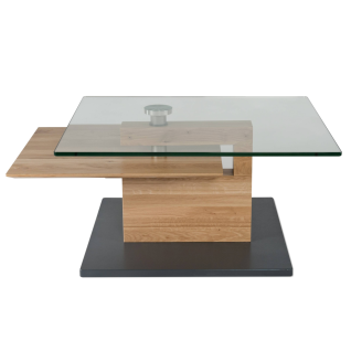 Vierhaus Couchtisch 7889-WEI Wildeiche Massivholz Bodenplatte MDF mit Schliffoptik perlsilberfarbig mit Rollen - Vorschau 1
