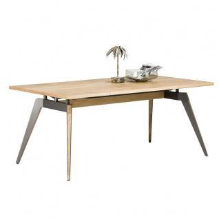Habufa Pandey Esstisch Tischplatte Eiche furniert Railway-Brown Tischbeine teilweise Primo Laminato Grey